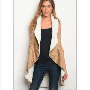 New Camel suede Sherpa vest   M
